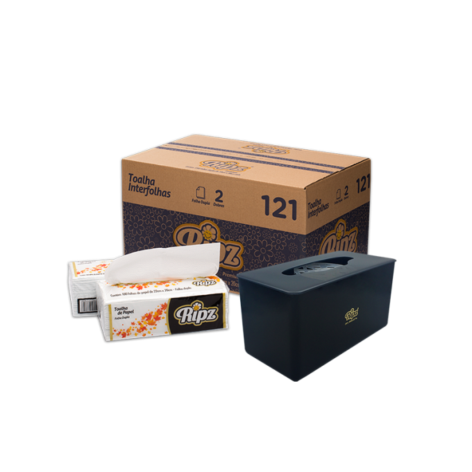 Kit Papel Toalha Interfolha Folha Dupla -1200 Folhas - 34g + Dispenser De Bancada Preto