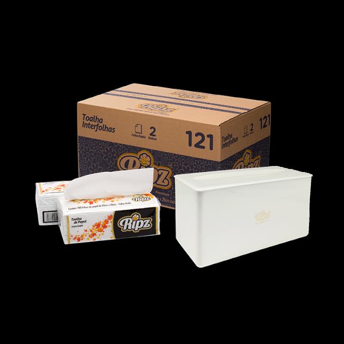 Kit Papel Toalha Interfolha Folha Dupla -1200 Folhas - 40g + Dispenser De Bancada Branco