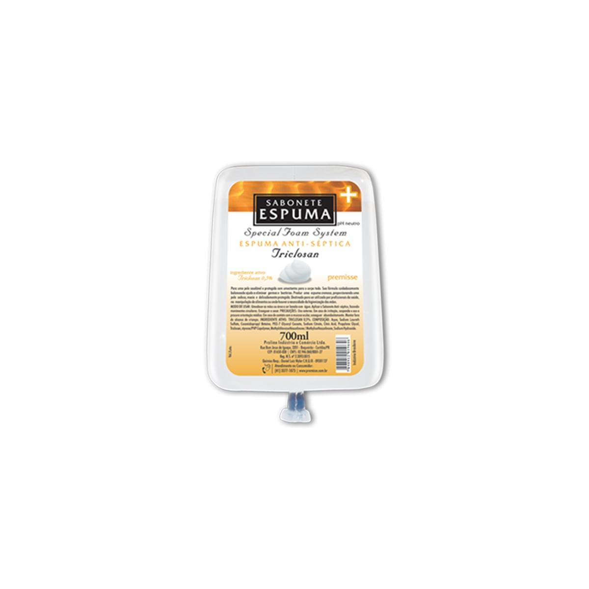 CÓD. 10204 - Sabonete Espuma Antisséptico Triclosan 0,5% Sem Álcool - 700Ml